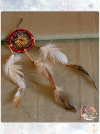 Dreamcatcher Wicahpi Rouge profond - Oeil de tigre