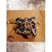 Bracelet Wowahwa - Dreamcatcher et macramé - Bleu -Aigue marine et amazonite