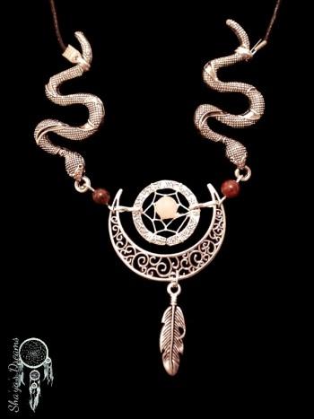 Collier Dreamcatcher Kuseyaon Serpent - Pierre de lune et grenat