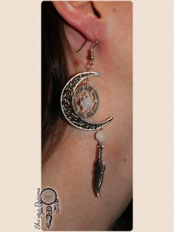Boucles d'oreille Lune - Dreamcatcher : Oiyokipi Moon - labradorite blanche